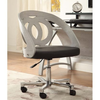 An Image of Juoly Office Chair In Black Faux Leather And Grey Ash