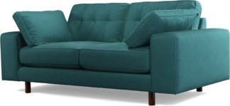 An Image of Content by Terence Conran Tobias, 2 Seater Sofa, Plush Kingfisher Blue Velvet, Dark Wood Leg