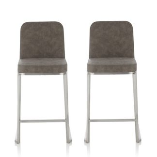 An Image of Beckett Retro Bar Stool In Grey Faux Leather In A Pair