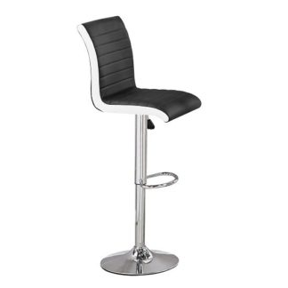 An Image of Ritz Bar Stool In Black And White Faux Leather With Chrome Base