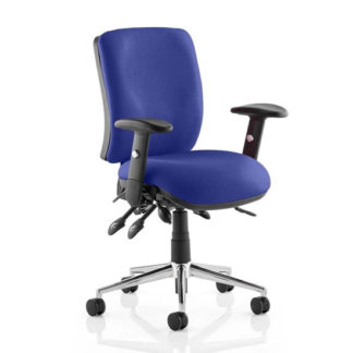 An Image of Chiro Medium Back Office Chair In Stevia Blue With Arms