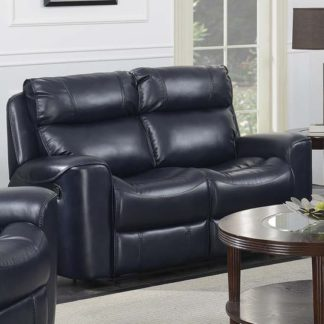 An Image of Mebsuta Leather 2 Seater Sofa In Navy