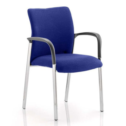An Image of Academy Fabric Back Visitor Chair In Stevia Blue With Arms