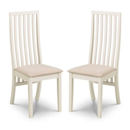 An Image of Vermont Ivory Faux Suede Dining Chairs In Pair