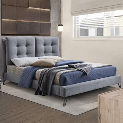 An Image of Tuscany Fabric King Size Bed In Light Grey With Black Metal Legs