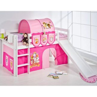 An Image of Jelle Filly Children Bed In White With Sliding And Curtains