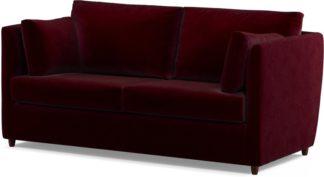 An Image of Custom MADE Milner Sofa Bed with Memory Foam Mattress, Shiraz Burgundy Velvet