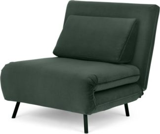 An Image of Kahlo Single Seat Sofa Bed, Autumn Green Velvet