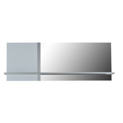 An Image of Crossana Wall Mirror In Stainless Lacquered Paper With 1 Shelf