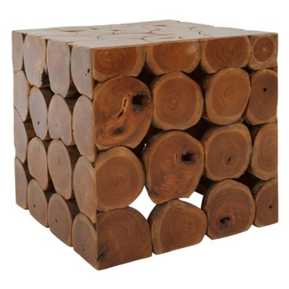 An Image of Praecipua Wooden Square Stool In Brown