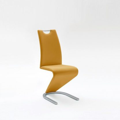 An Image of Amado Dining Chair In Curry Faux Leather With Chrome Base