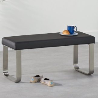 An Image of Washington Small Dining Bench In Black Faux Leather