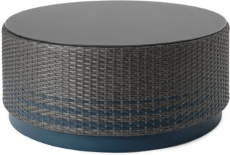 An Image of Bulao Garden Coffee Table, Rattan and Blue