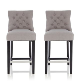 An Image of Calvia Bar Stools In Grey Fabric With Black Legs In A Pair