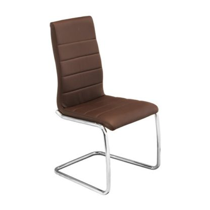 An Image of Svenska Brown PU Leather Dining Chair With Chrome Legs