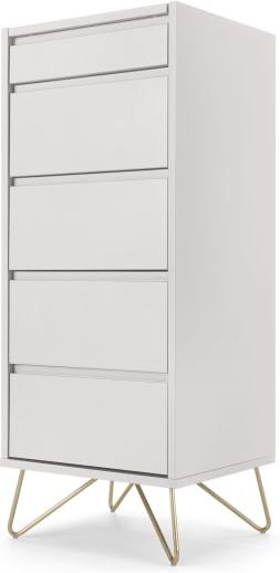 An Image of Elona Vanity Chest of Drawers, Ivory White & Brass