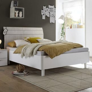 An Image of Altair Fabric Single Bed In Matt White And Grey