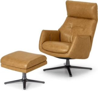 An Image of Paxton Reclining Accent Armchair and Footstool, Moroccan Brown Leather