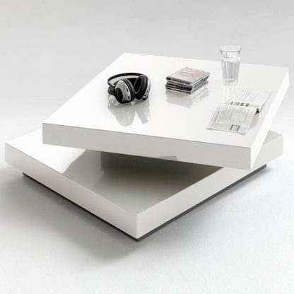 An Image of Hugo Square Coffee Table High Gloss White With Twist Top