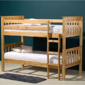 An Image of Charleston Wooden Bunk Bed In Antique Pine Finish