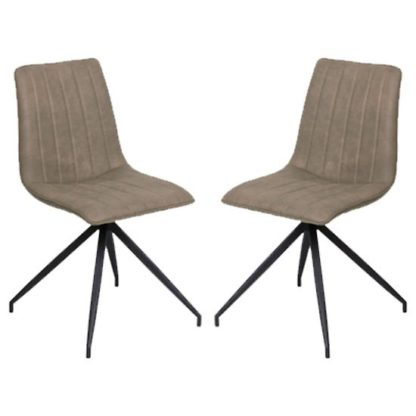 An Image of Isaac Taupe Faux Leather Dining Chairs In Pair
