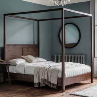 An Image of Boho Retreat Wooden King Size Bed In Walnut