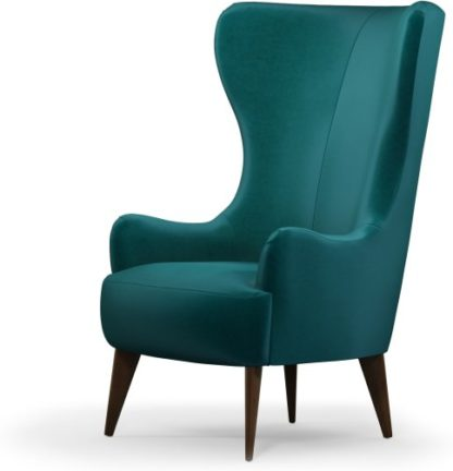 An Image of Custom MADE Bodil Accent Armchair, Tuscan Teal Velvet with Dark Wood Leg