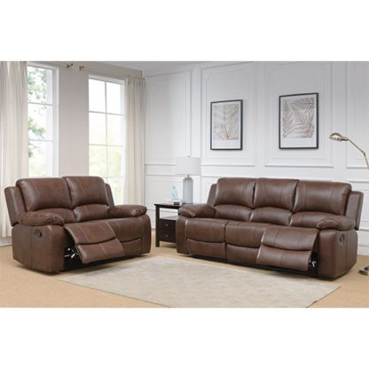 An Image of Andalusia Leather 2 Seater And 3 Seater Sofa Suite In Whiskey