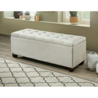 An Image of Lily Velvet Upholstered Storage Ottoman In Champagne