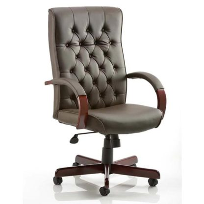 An Image of Chesterfield Leather Office Chair In Brown With Arms