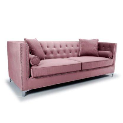 An Image of Dorchester Brushed Velvet 4 Seater Sofa In Pink Blush