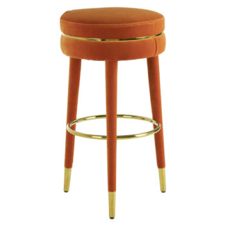An Image of Intercrus Velvet Bar Stool In Orange