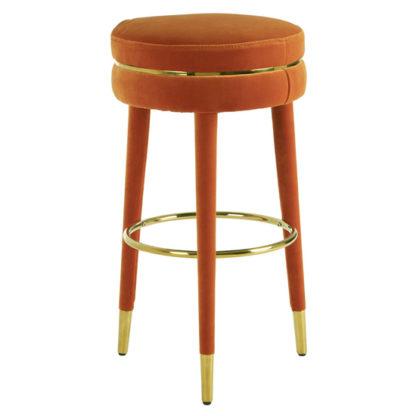 An Image of Intercrus Velvet Bar Stool In Orange