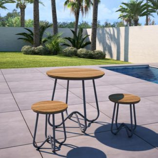 An Image of Novogratz Bobbi Bistro Set In Charcoal Grey With 2 Stools