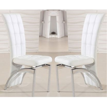 An Image of Ravenna Dining Chair In White Faux Leather in A Pair