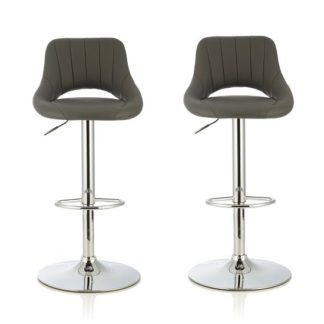 An Image of Shello Bar Stool In Grey Faux Leather With Chrome Base In A Pair