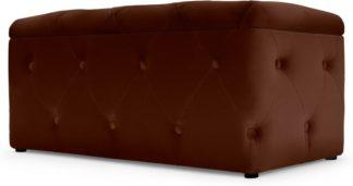 An Image of Hampton Rectangle Storage Pouffe, Warm Caramel Velvet