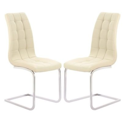 An Image of Torres Dining Chair In Cream Faux Leather in A Pair