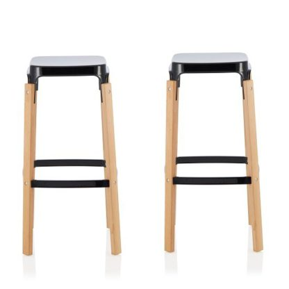 An Image of Hoker 76cm Bar Stools In Glossy Black In A Pair