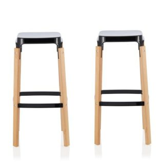 An Image of Hoker 66cm Bar Stools In Glossy Black In A Pair