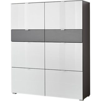 An Image of Alameda Shoe Cabinet In Anthracite And White Glass Front