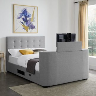 An Image of Mayfair Fabric TV King Size Bed In Grey