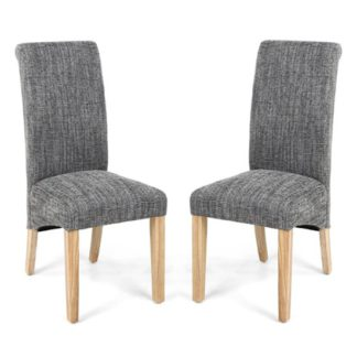An Image of Karta Scroll Back Tweed Grey Dining Chairs In Pair