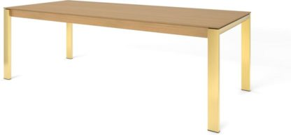 An Image of Custom MADE Corinna 10 Seat Dining Table, Oak and Brass