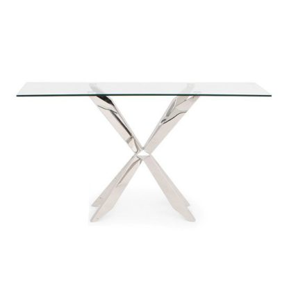 An Image of Lyon Glass Console Table In Clear With Stainless Steel Base