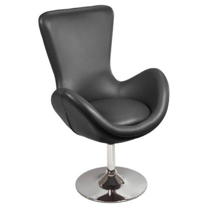 An Image of Destiny Modern Rotating Bucket Chair in Black Faux Leather