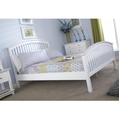 An Image of Madrid Rubberwood King Size Bed In White