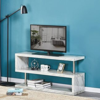 An Image of Magnesia TV Stand In Grey High Gloss Marble Effect