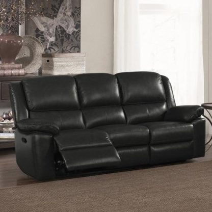 An Image of Toledo Leather And PVC Recliner 3 Seater Sofa In Black