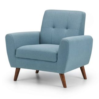 An Image of Monza Linen Compact Retro Lounge Chaise Armchair In Blue